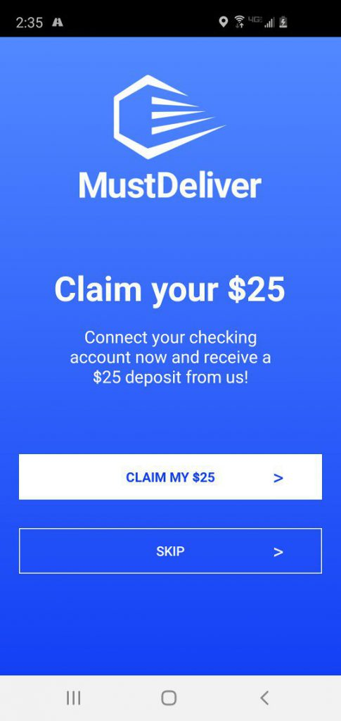 MustDeliver Driver App Connect Bank Account Reward Screen