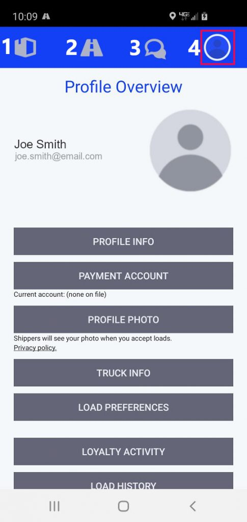 MustDeliver Driver App Profile Overview Screen