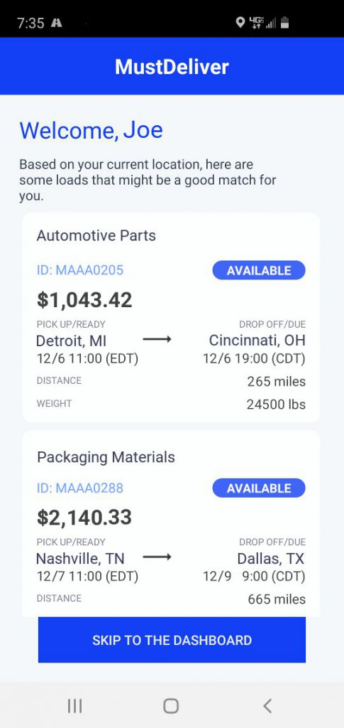 MustDeliver Driver App Available Load Preview Screen